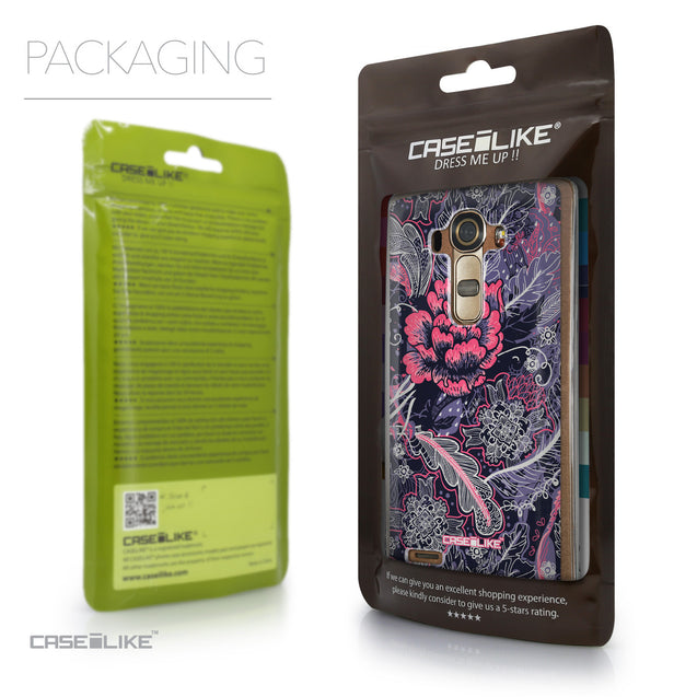 Packaging - CASEiLIKE LG G4 back cover Vintage Roses and Feathers Blue 2252