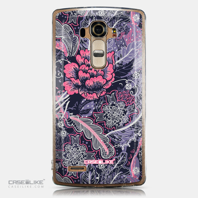CASEiLIKE LG G4 back cover Vintage Roses and Feathers Blue 2252