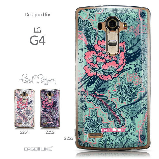 Collection - CASEiLIKE LG G4 back cover Vintage Roses and Feathers Turquoise 2253