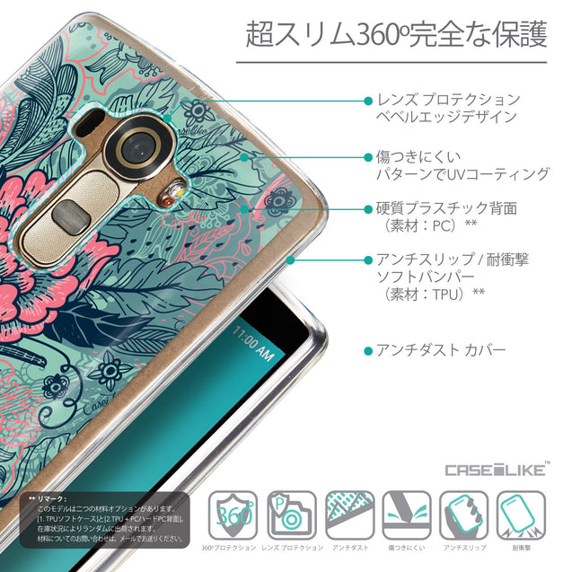 Details in Japanese - CASEiLIKE LG G4 back cover Vintage Roses and Feathers Turquoise 2253