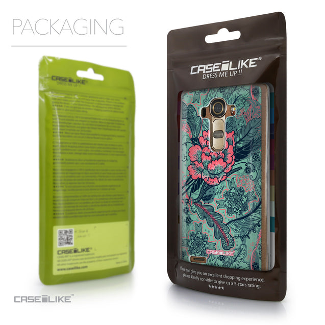 Packaging - CASEiLIKE LG G4 back cover Vintage Roses and Feathers Turquoise 2253