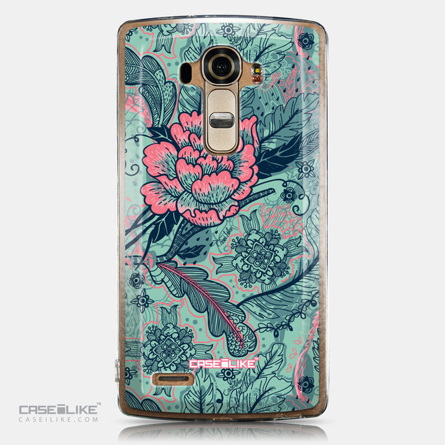 CASEiLIKE LG G4 back cover Vintage Roses and Feathers Turquoise 2253
