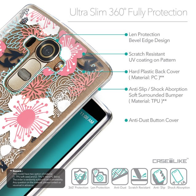 Details in English - CASEiLIKE LG G4 back cover Japanese Floral 2255