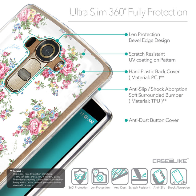 Details in English - CASEiLIKE LG G4 back cover Floral Rose Classic 2260