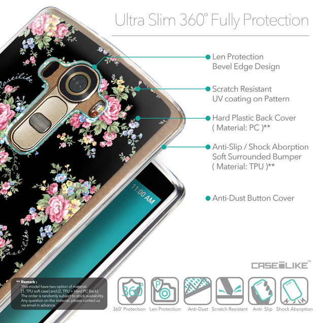 Details in English - CASEiLIKE LG G4 back cover Floral Rose Classic 2261