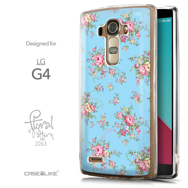 Front & Side View - CASEiLIKE LG G4 back cover Floral Rose Classic 2263