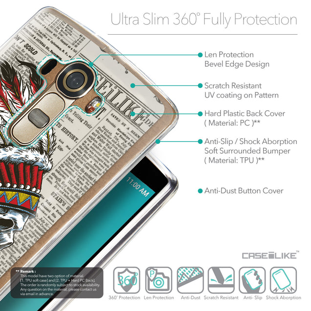 Details in English - CASEiLIKE LG G4 back cover Art of Skull 2522