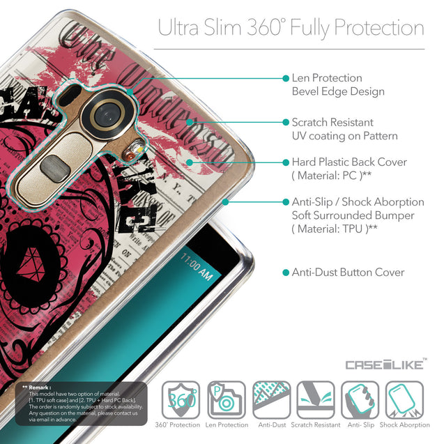 Details in English - CASEiLIKE LG G4 back cover Art of Skull 2523