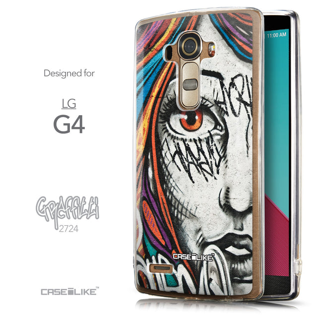 Front & Side View - CASEiLIKE LG G4 back cover Graffiti Girl 2724