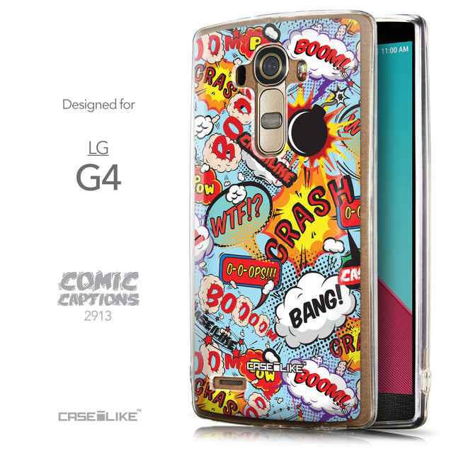 Front & Side View - CASEiLIKE LG G4 back cover Comic Captions Blue 2913