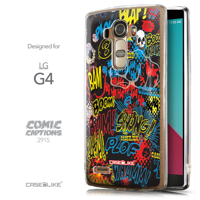Front & Side View - CASEiLIKE LG G4 back cover Comic Captions Black 2915