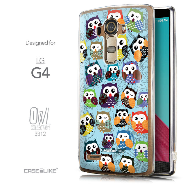 Front & Side View - CASEiLIKE LG G4 back cover Owl Graphic Design 3312