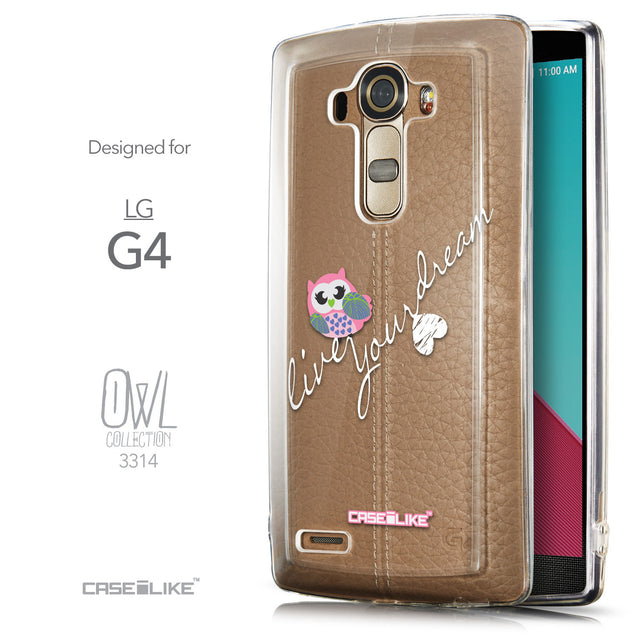 Front & Side View - CASEiLIKE LG G4 back cover Owl Graphic Design 3314
