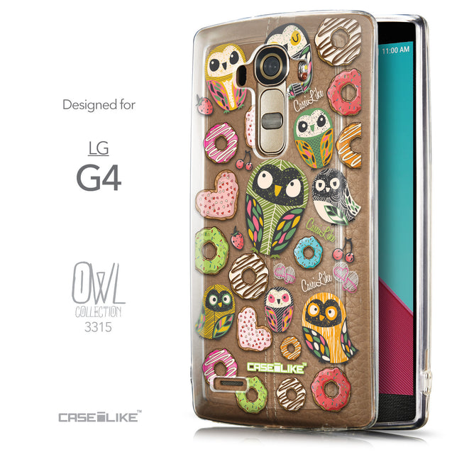 Front & Side View - CASEiLIKE LG G4 back cover Owl Graphic Design 3315