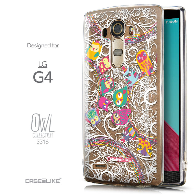 Front & Side View - CASEiLIKE LG G4 back cover Owl Graphic Design 3316
