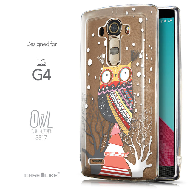Front & Side View - CASEiLIKE LG G4 back cover Owl Graphic Design 3317