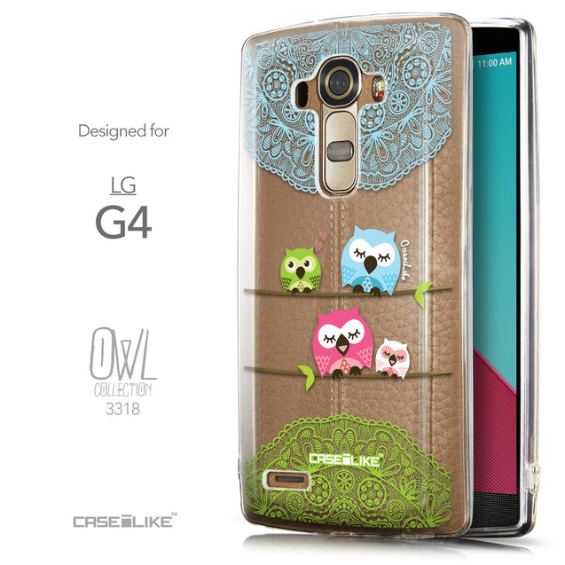 Front & Side View - CASEiLIKE LG G4 back cover Owl Graphic Design 3318