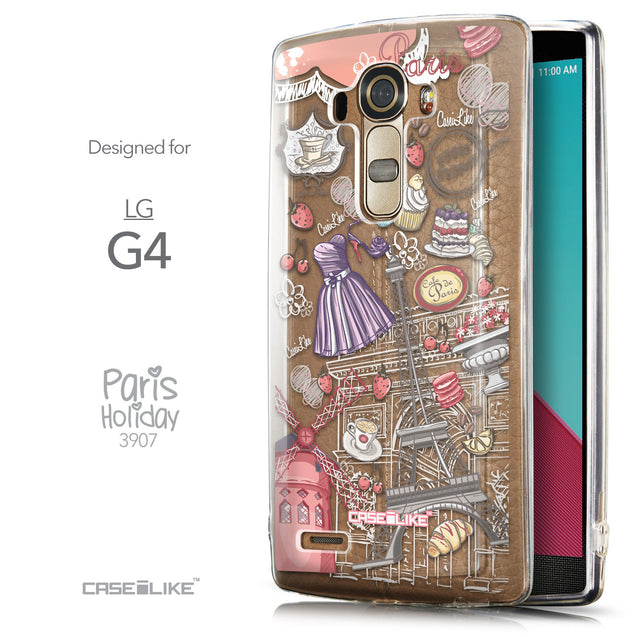 Front & Side View - CASEiLIKE LG G4 back cover Paris Holiday 3907