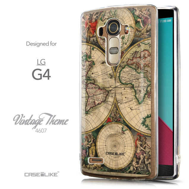 Front & Side View - CASEiLIKE LG G4 back cover World Map Vintage 4607