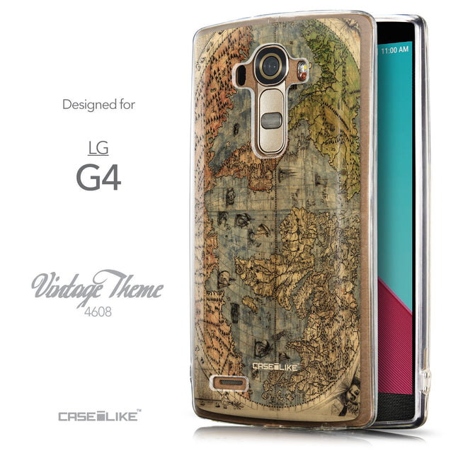 Front & Side View - CASEiLIKE LG G4 back cover World Map Vintage 4608