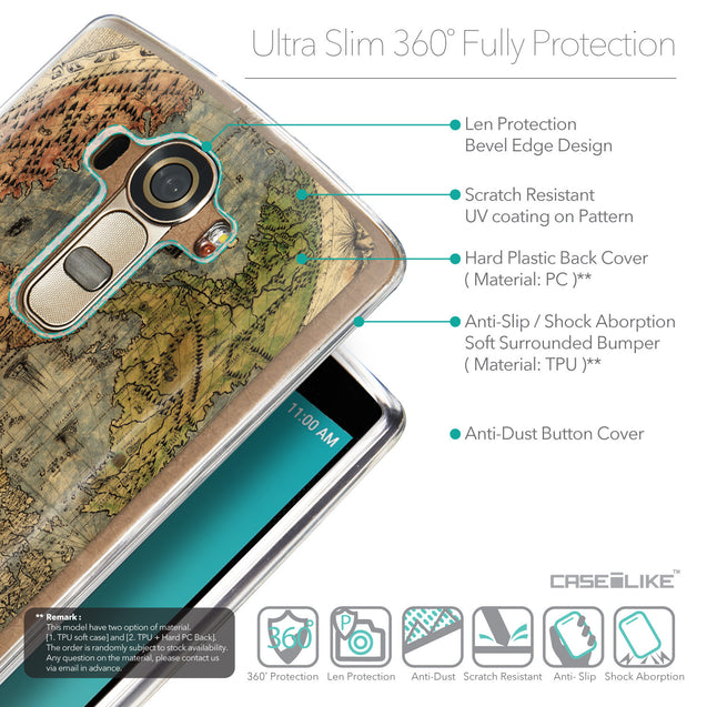 Details in English - CASEiLIKE LG G4 back cover World Map Vintage 4608