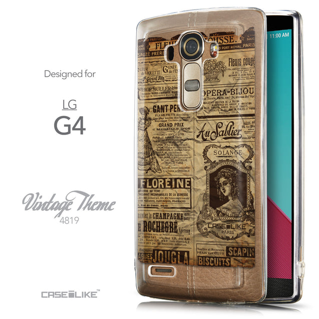 Front & Side View - CASEiLIKE LG G4 back cover Vintage Newspaper Advertising 4819