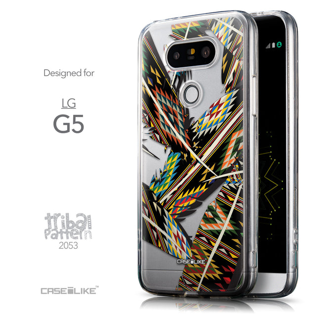 Front & Side View - CASEiLIKE LG G5 back cover Indian Tribal Theme Pattern 2053