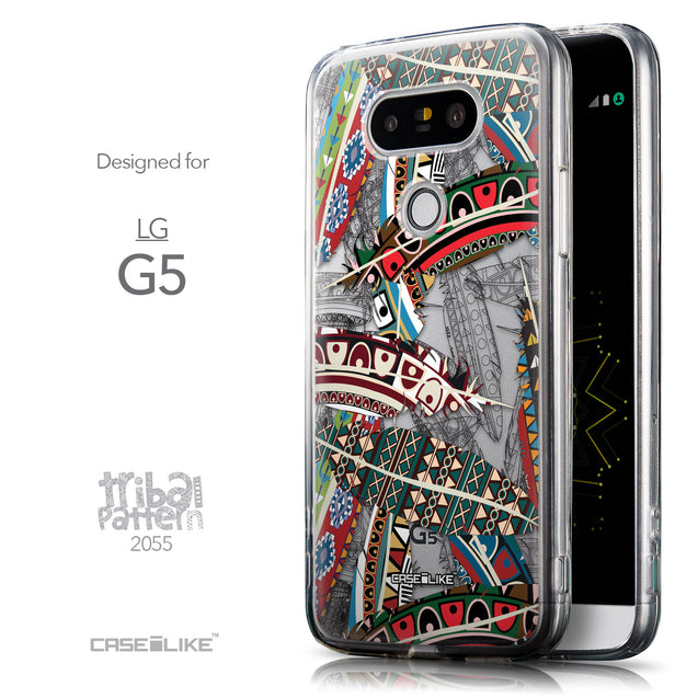 Front & Side View - CASEiLIKE LG G5 back cover Indian Tribal Theme Pattern 2055