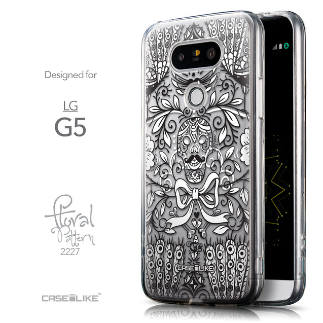 Front & Side View - CASEiLIKE LG G5 back cover Roses Ornamental Skulls Peacocks 2227