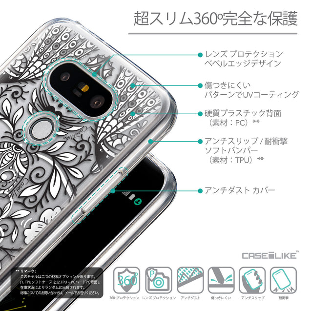 Details in Japanese - CASEiLIKE LG G5 back cover Roses Ornamental Skulls Peacocks 2227