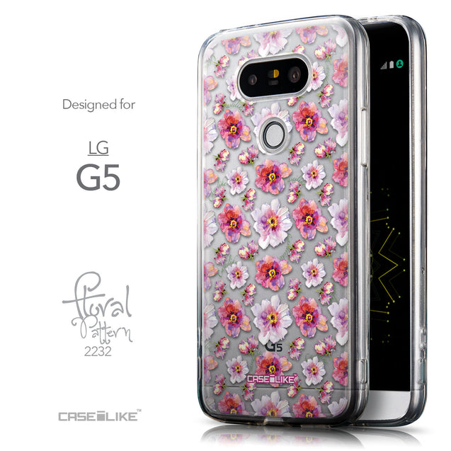 Front & Side View - CASEiLIKE LG G5 back cover Watercolor Floral 2232