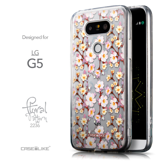 Front & Side View - CASEiLIKE LG G5 back cover Watercolor Floral 2236