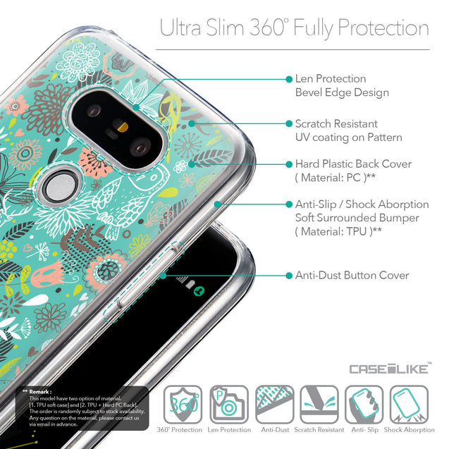 Details in English - CASEiLIKE LG G5 back cover Spring Forest Turquoise 2245
