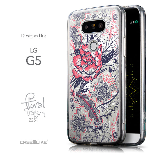 Front & Side View - CASEiLIKE LG G5 back cover Vintage Roses and Feathers Beige 2251