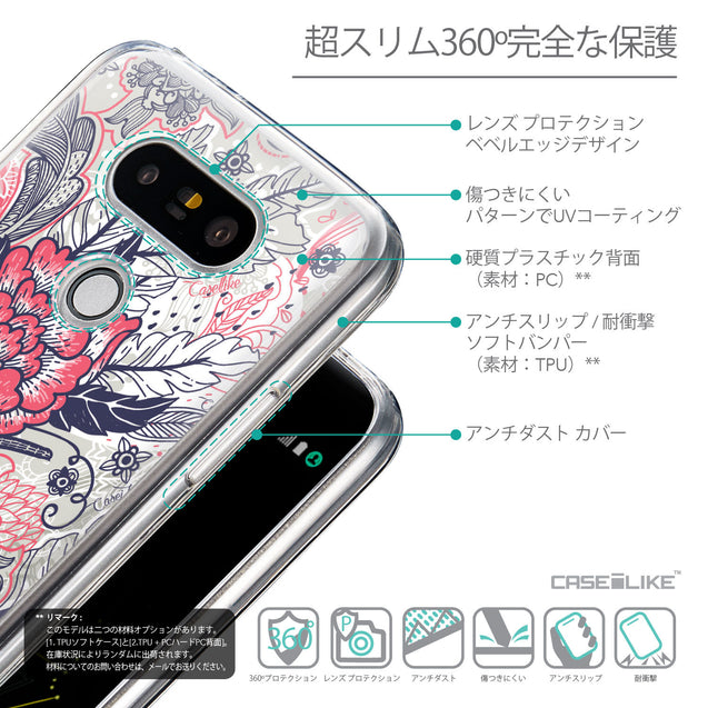 Details in Japanese - CASEiLIKE LG G5 back cover Vintage Roses and Feathers Beige 2251