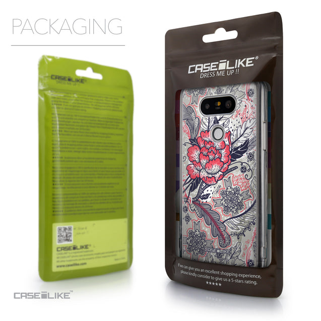 Packaging - CASEiLIKE LG G5 back cover Vintage Roses and Feathers Beige 2251