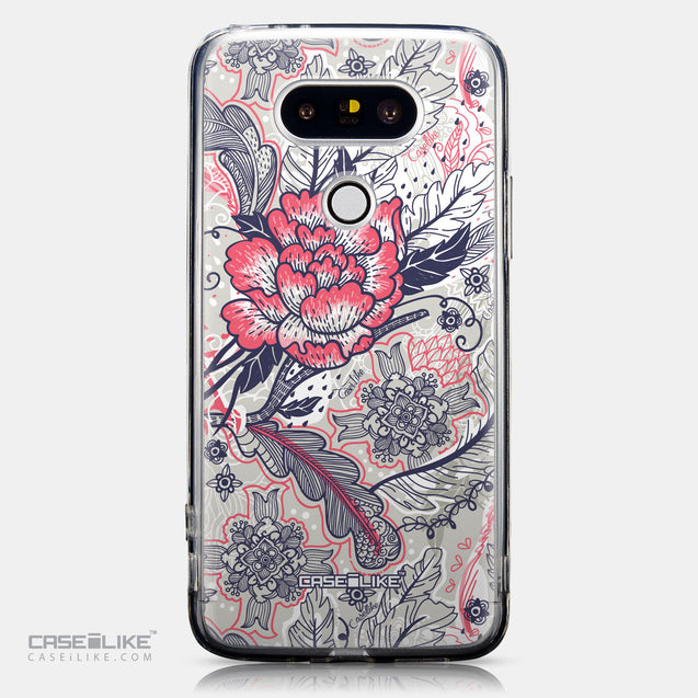 CASEiLIKE LG G5 back cover Vintage Roses and Feathers Beige 2251
