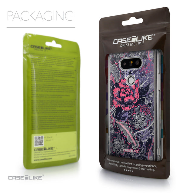 Packaging - CASEiLIKE LG G5 back cover Vintage Roses and Feathers Blue 2252