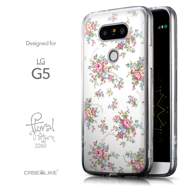 Front & Side View - CASEiLIKE LG G5 back cover Floral Rose Classic 2260