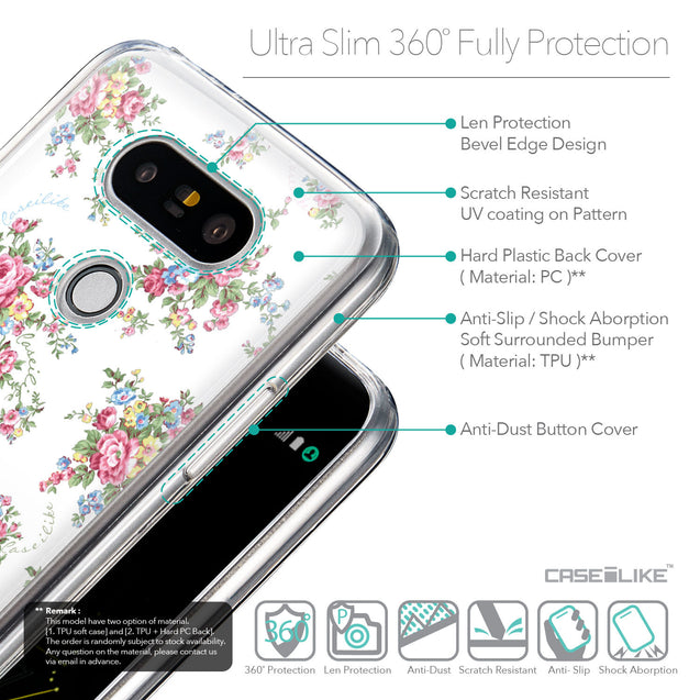 Details in English - CASEiLIKE LG G5 back cover Floral Rose Classic 2260