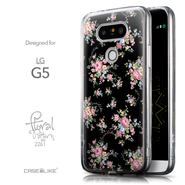 Front & Side View - CASEiLIKE LG G5 back cover Floral Rose Classic 2261