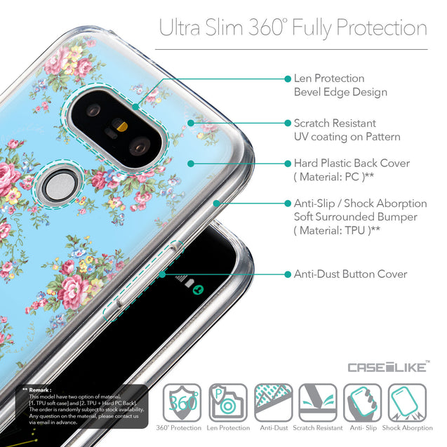 Details in English - CASEiLIKE LG G5 back cover Floral Rose Classic 2263