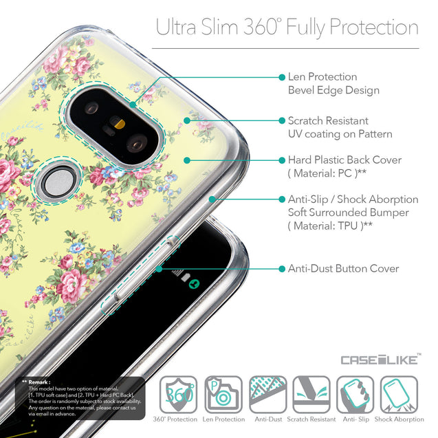 Details in English - CASEiLIKE LG G5 back cover Floral Rose Classic 2264
