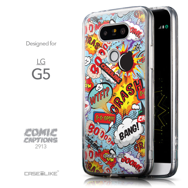 Front & Side View - CASEiLIKE LG G5 back cover Comic Captions Blue 2913
