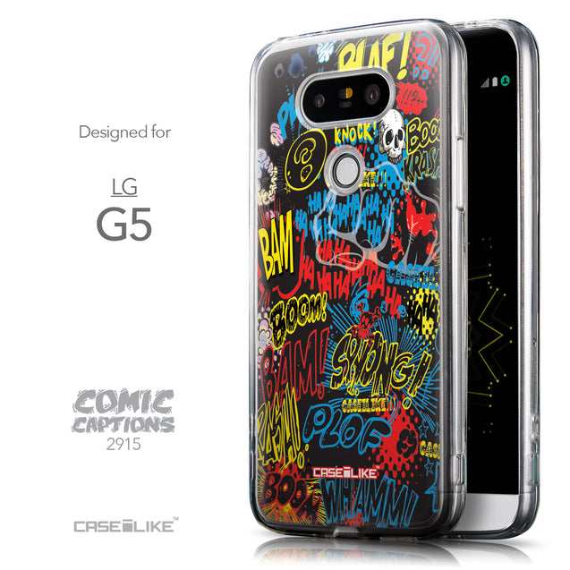 Front & Side View - CASEiLIKE LG G5 back cover Comic Captions Black 2915