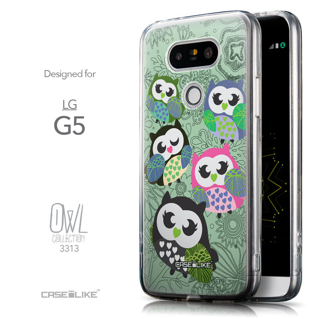 Front & Side View - CASEiLIKE LG G5 back cover Owl Graphic Design 3313