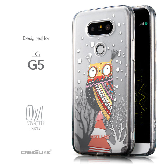 Front & Side View - CASEiLIKE LG G5 back cover Owl Graphic Design 3317