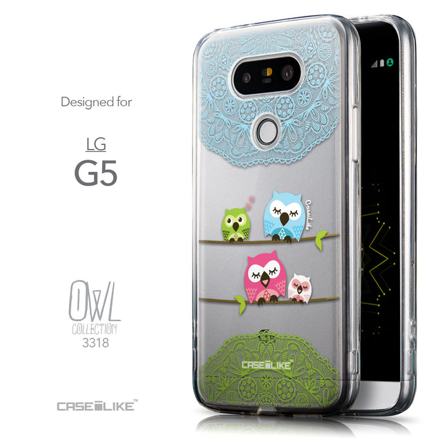 Front & Side View - CASEiLIKE LG G5 back cover Owl Graphic Design 3318