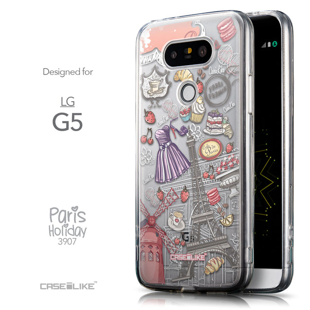 Front & Side View - CASEiLIKE LG G5 back cover Paris Holiday 3907