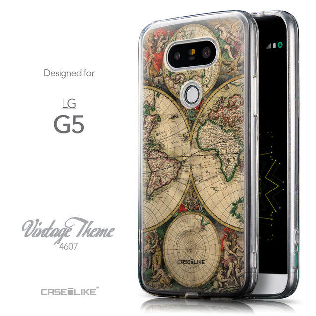 Front & Side View - CASEiLIKE LG G5 back cover World Map Vintage 4607